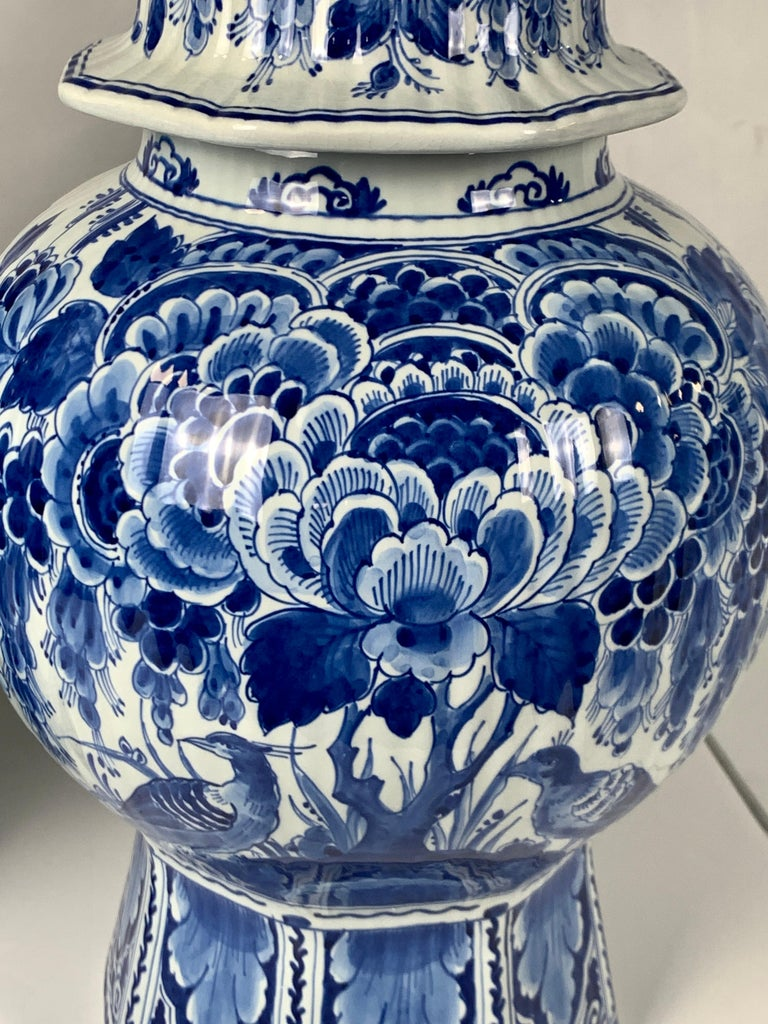 20th Century Pair of Large Dutch Delft Blue and White Jars For Sale