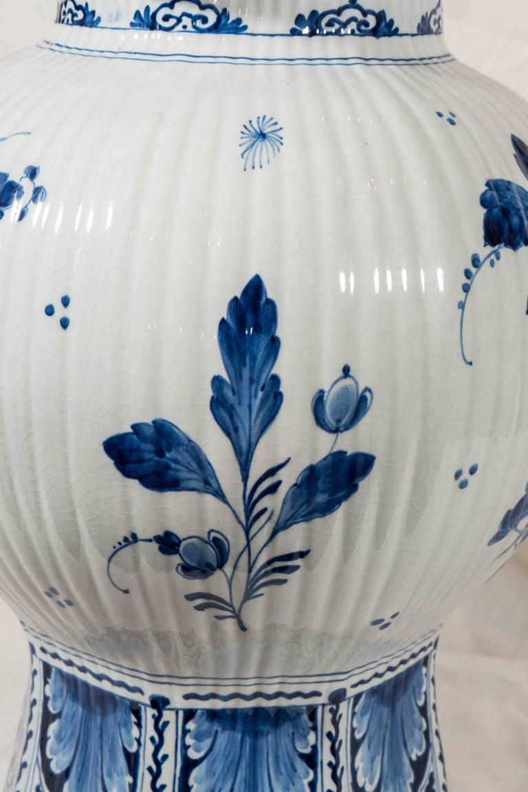 Pair of Large Dutch Delft Blue and White Jars For Sale 1