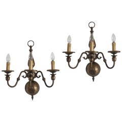 Pair of Large Dutch Flemish Brass Three Branch Wall Sconces