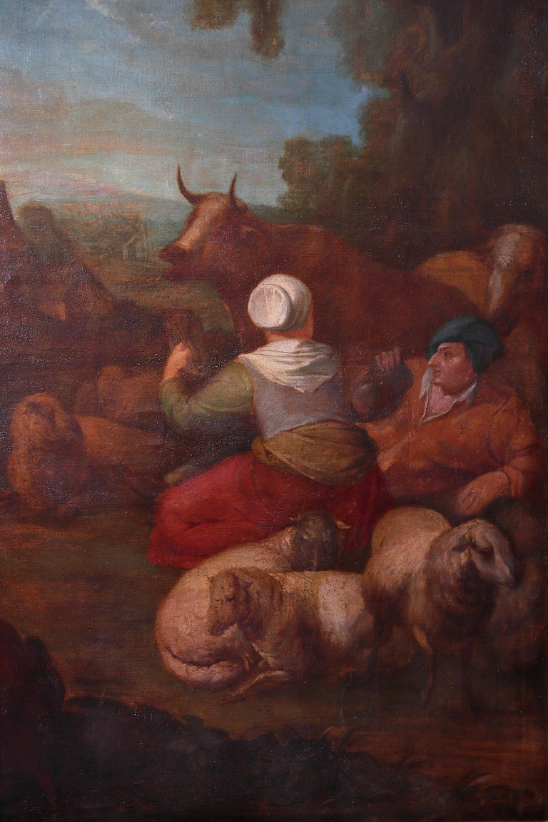 French Pair of Large Early 19th Century European Oil on Canvas Paintings For Sale