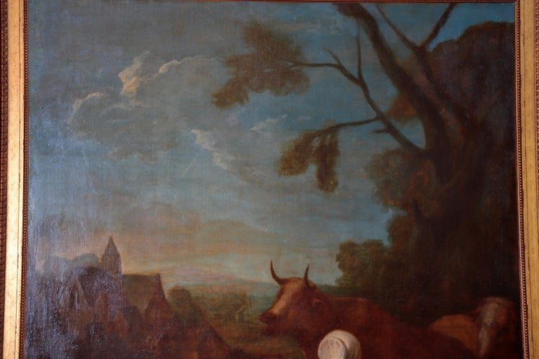 Pair of Large Early 19th Century European Oil on Canvas Paintings In Good Condition For Sale In Dallas, TX