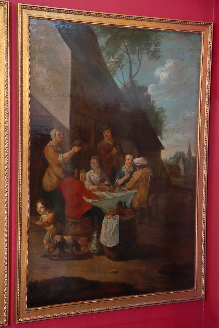 Pair of Large Early 19th Century European Oil on Canvas Paintings For Sale 1
