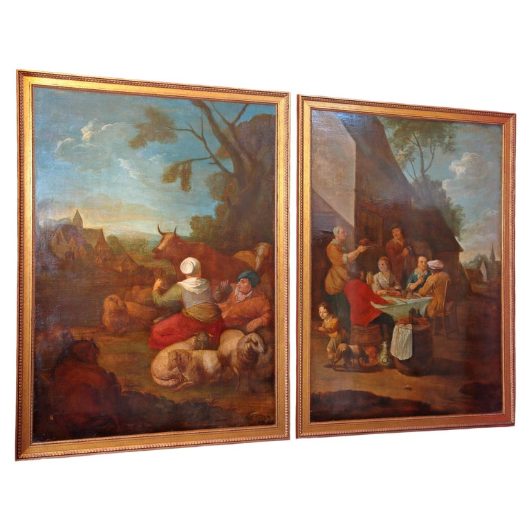 Pair of Large Early 19th Century European Oil on Canvas Paintings For Sale