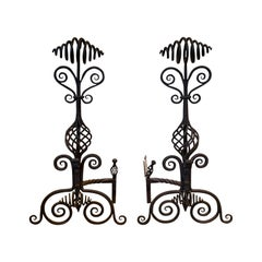 Pair of Large Early 20th Century French Iron Twist Andirons