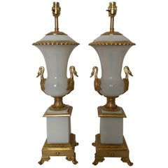 Pair of Large Early 20th Century Opaline and Bronze Lamps
