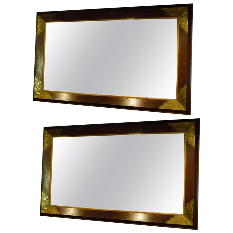 Pair of Large Early 20th Century Wall Mirrors For Sale