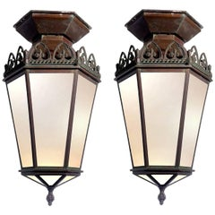 Pair of Large Early Lantern Style Pendents Matching