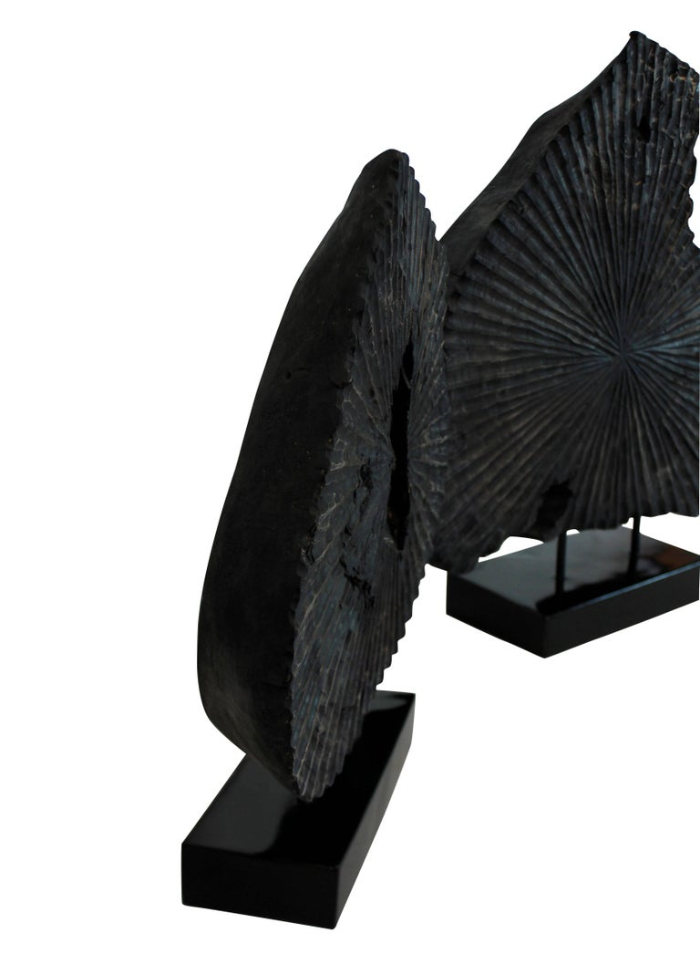 Pair of Large Ebonized Tree Trunk Sculptures In Distressed Condition For Sale In London, GB