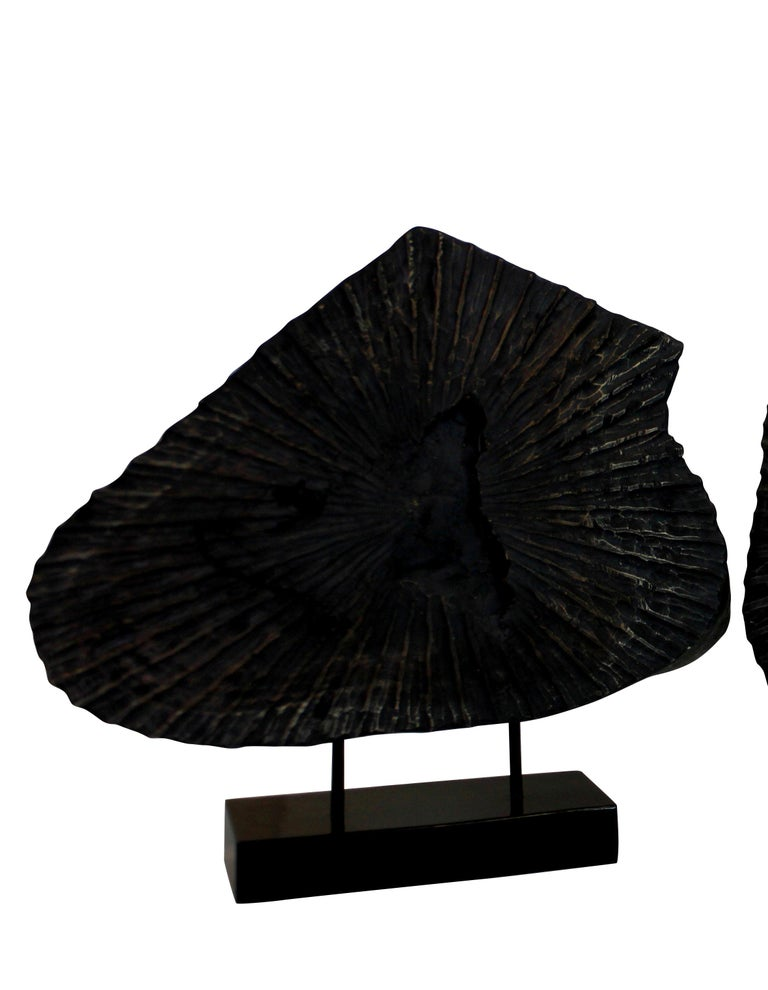 Late 20th Century Pair of Large Ebonized Tree Trunk Sculptures For Sale