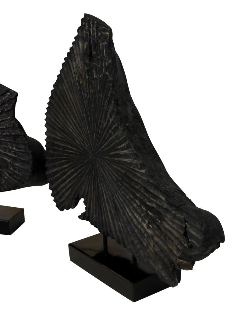 Pair of Large Ebonized Tree Trunk Sculptures For Sale 1