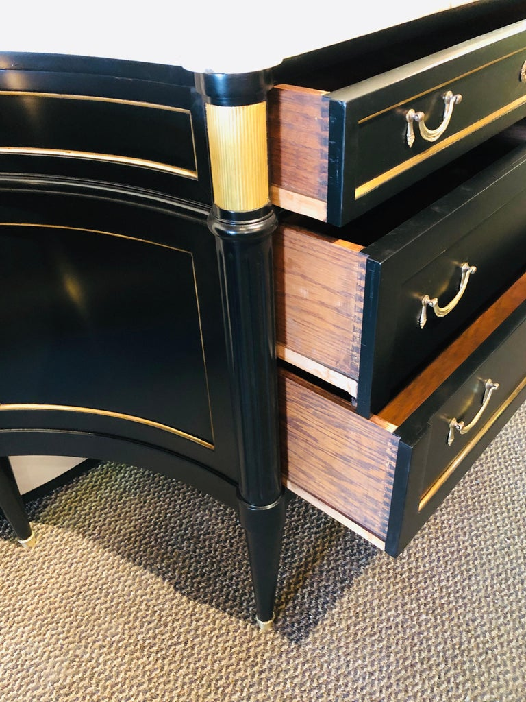 Ebony Hollywood Regency Style Marble-Top Commodes Maison Jansen Attributed, Pair For Sale 10