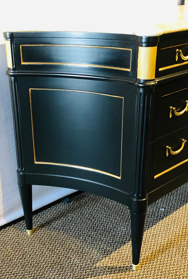 Ebony Hollywood Regency Style Marble-Top Commodes Maison Jansen Attributed, Pair In Good Condition For Sale In Stamford, CT