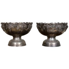 Pair of Large Ecclesiastical Wine Coolers White Metal Bowls Urns