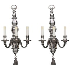 Pair of Large E.F. Caldwell Silvered Metal 3-Light Sconces