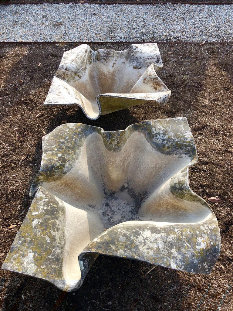 Swiss Pair of Large Elephant Ear Planters Designed by Willy Guhl For Sale