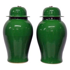 Pair of Large Emerald Green Chinese Glazed Vases