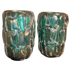 Pair of Large Emerald Green Color and Iridescent Murano Glass Vases by Cenedese