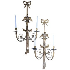 Pair of Large Empire Appliqués / Sconces circa 1800, Gilded Linden Wood
