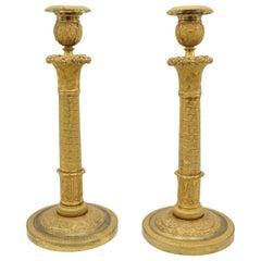 Pair of Large Empire Ormolou Candlesticks