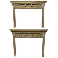 Pair of Large English 18th Century Pickled Fire Surrounds