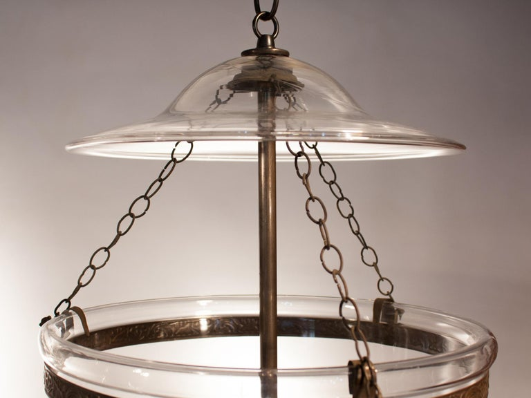 Pair of Large English Bell Jar Lanterns with Star Etching For Sale 4