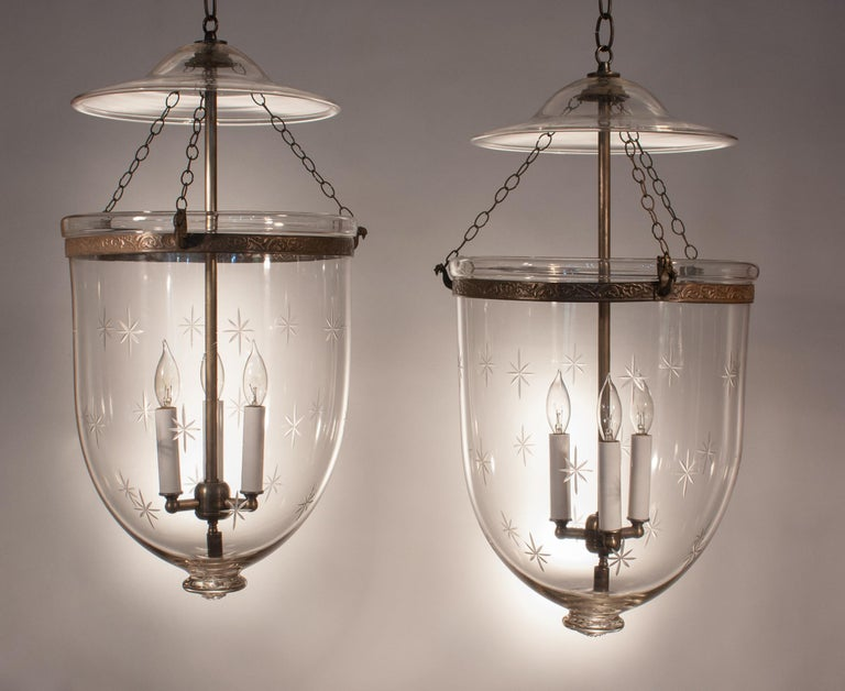 Victorian Pair of Large English Bell Jar Lanterns with Star Etching For Sale
