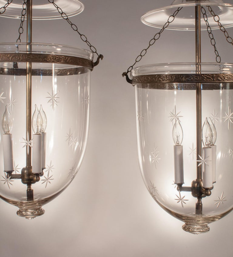 Etched Pair of Large English Bell Jar Lanterns with Star Etching For Sale