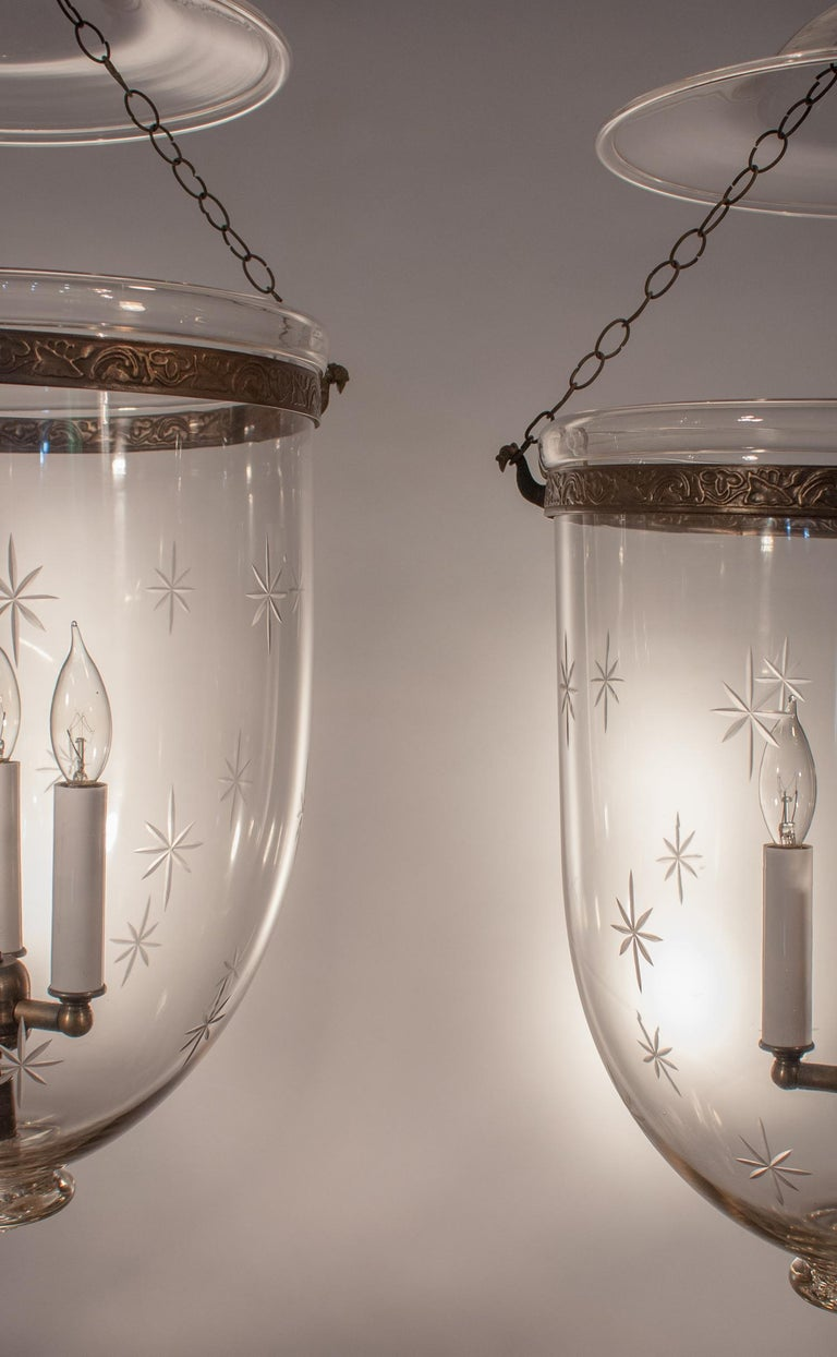Pair of Large English Bell Jar Lanterns with Star Etching In Excellent Condition For Sale In Shelburne Falls, MA