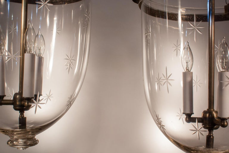 19th Century Pair of Large English Bell Jar Lanterns with Star Etching For Sale