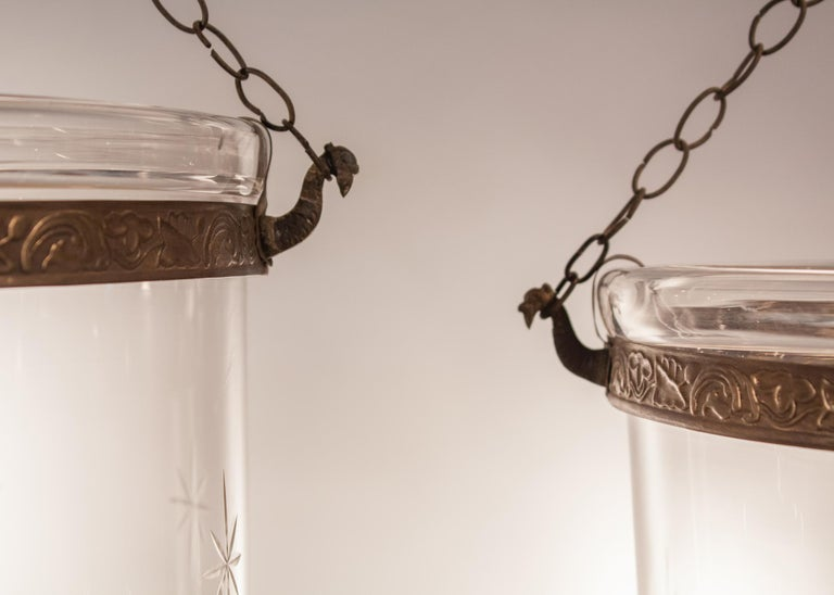Glass Pair of Large English Bell Jar Lanterns with Star Etching For Sale
