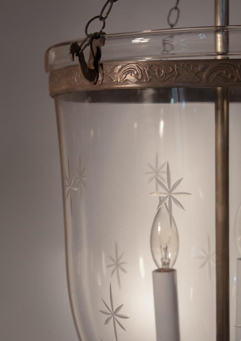 Pair of Large English Bell Jar Lanterns with Star Etching For Sale 1