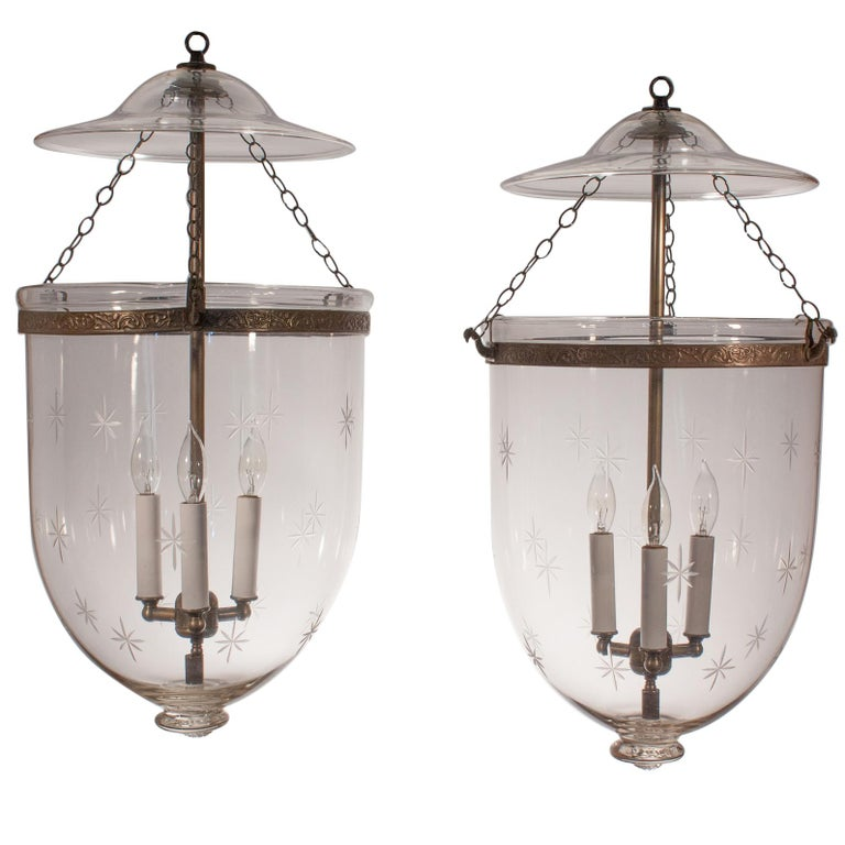 Pair of Large English Bell Jar Lanterns with Star Etching For Sale