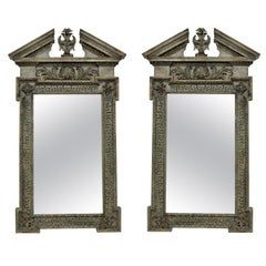 Pair of Large English Carved and Painted 18th Century Style Mirrors