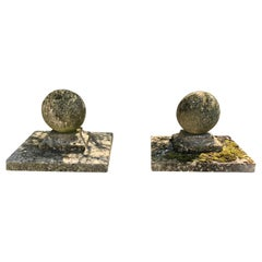 Pair of Large English Cast Stone Ball Gate Pier Finials #1