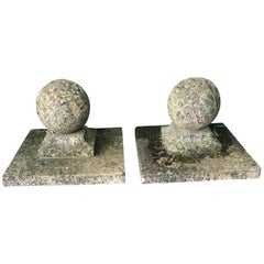 Pair of Large English Cast Stone Ball Gate Pier Finials #2