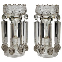 Pair of Large English Cut Glass Table Lustres