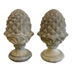 Pair of Large English Garden Stone Finials