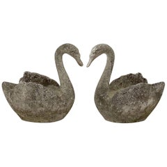Pair of Large English Garden Stone Swan Planters