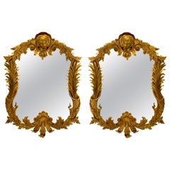 Pair of Large English George III Style Carved Giltwood Mirrors