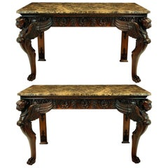 Pair of Large English Mahogany and Marble-Top Adam Revival Console Tables