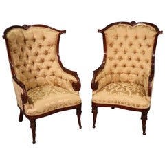 Pair of Large English Regency Style Carved Mahogany Fireside Wing Chairs