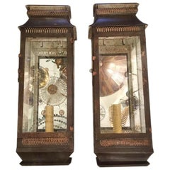 Pair of Large English Tole Sconces