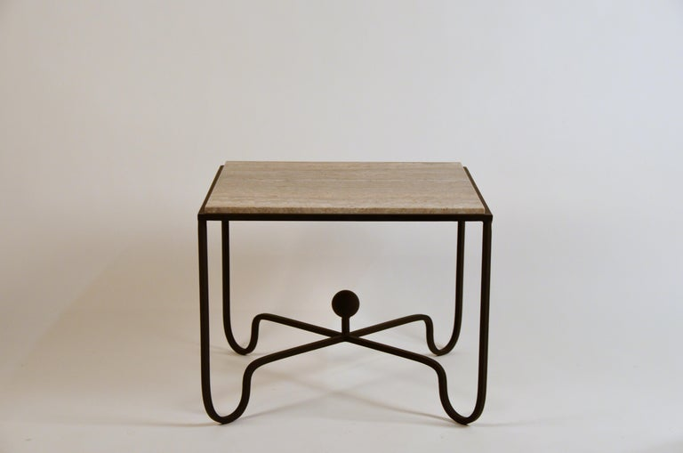 Modern Pair of Large 'Entretoise' Silver Travertine Side Tables by Design Frères For Sale