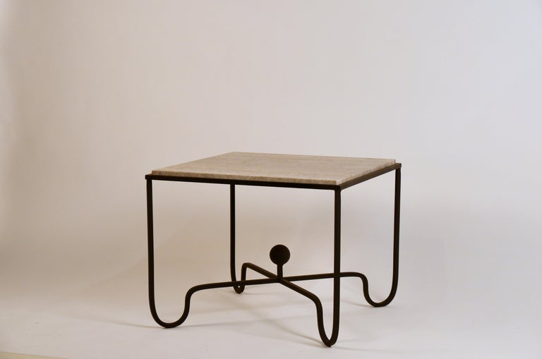 French Pair of Large 'Entretoise' Silver Travertine Side Tables by Design Frères For Sale