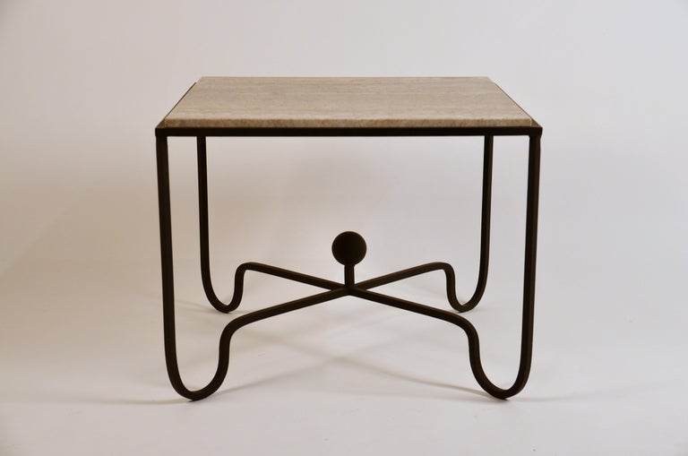 Polished Pair of Large 'Entretoise' Silver Travertine Side Tables by Design Frères For Sale