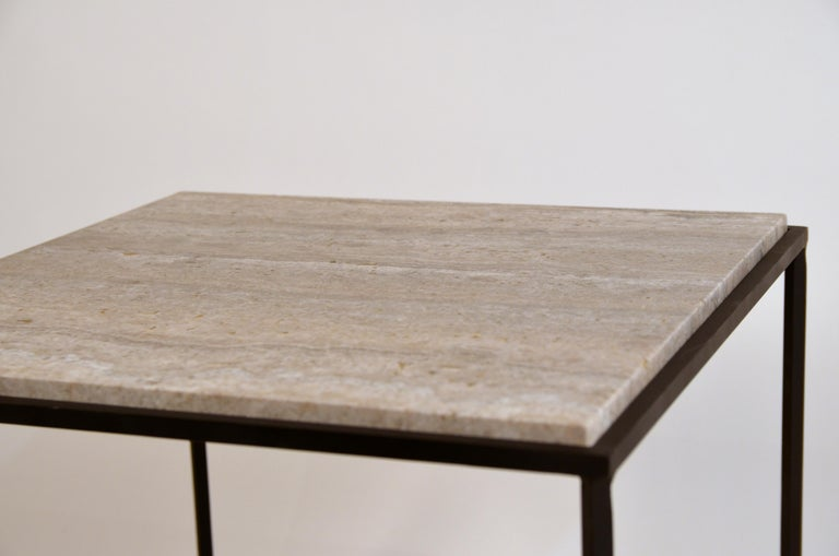 Contemporary Pair of Large 'Entretoise' Silver Travertine Side Tables by Design Frères For Sale
