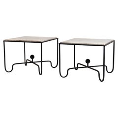 Pair of Large 'Entretoise' Silver Travertine Side Tables by Design Frères