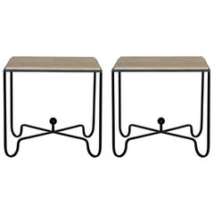 Pair of Large 'Entretoise' Travertine Side Tables / Nightstands by Design Frères