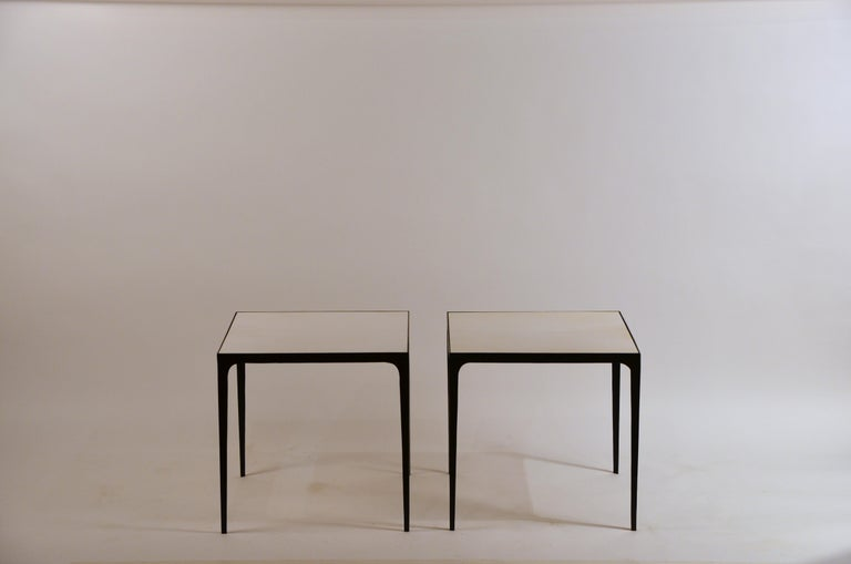 Art Deco Pair of large 'Esquisse' Wrought Iron and Parchment Side Tables by Design Frères For Sale