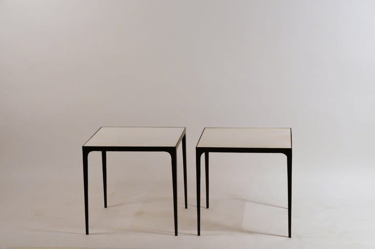 European Pair of large 'Esquisse' Wrought Iron and Parchment Side Tables by Design Frères For Sale